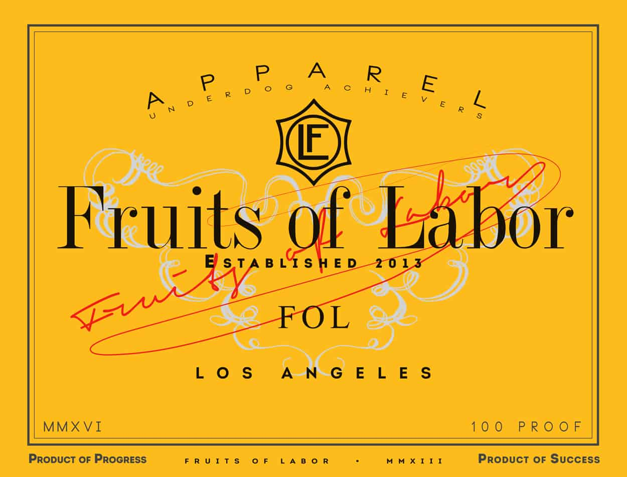 fruits of labor - champagne - t-shirt design