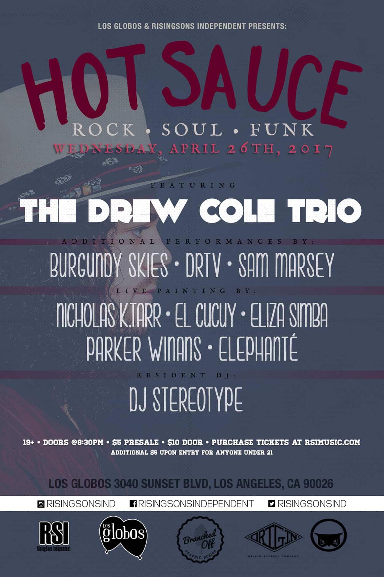 Hot Sauce - The Drew Cole Trio - Flyer Design