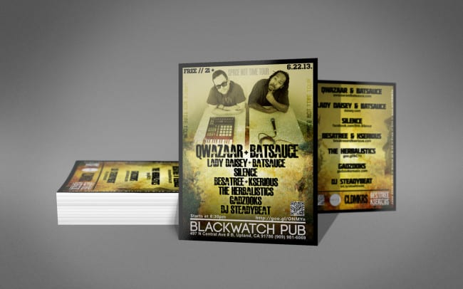 qwazaar and batsauce - flyer design