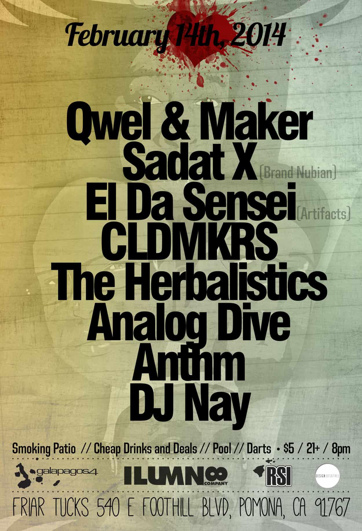 qwel & maker x sadat - flyer design