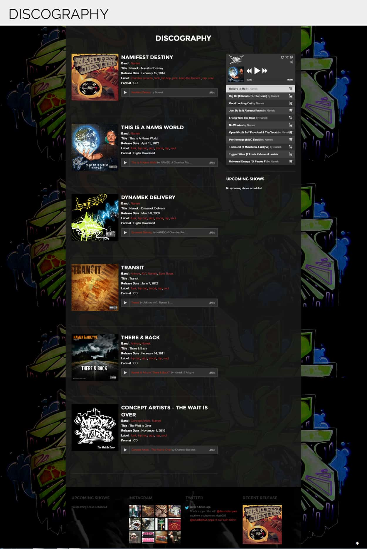 namek - website design - discography