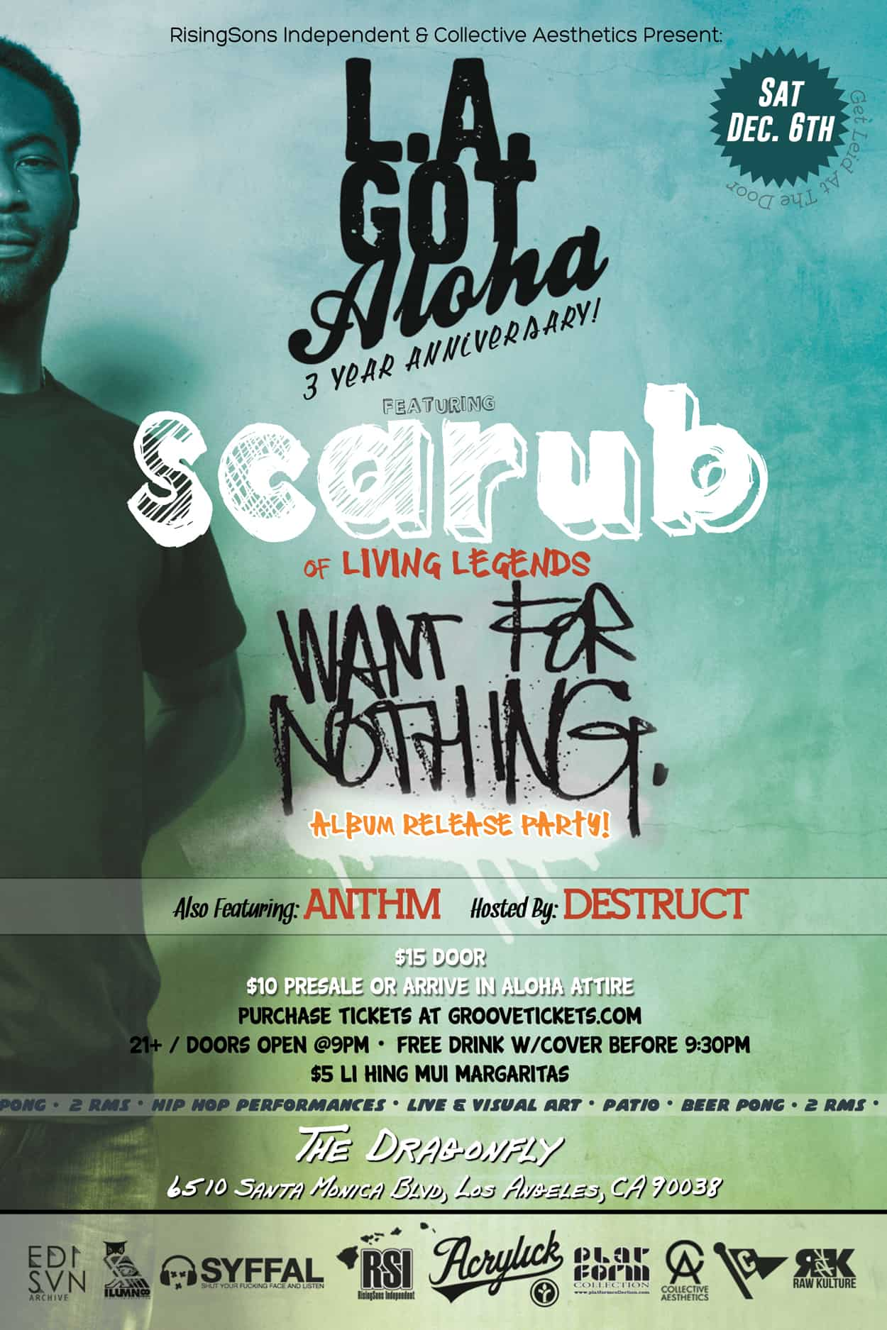 scarub - want for nothing - flyer design