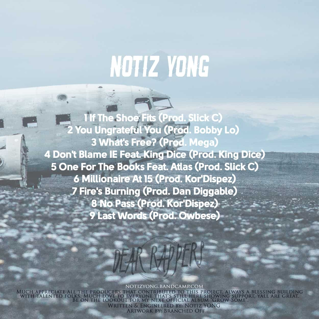 notiz yong - dear rappers - album art design