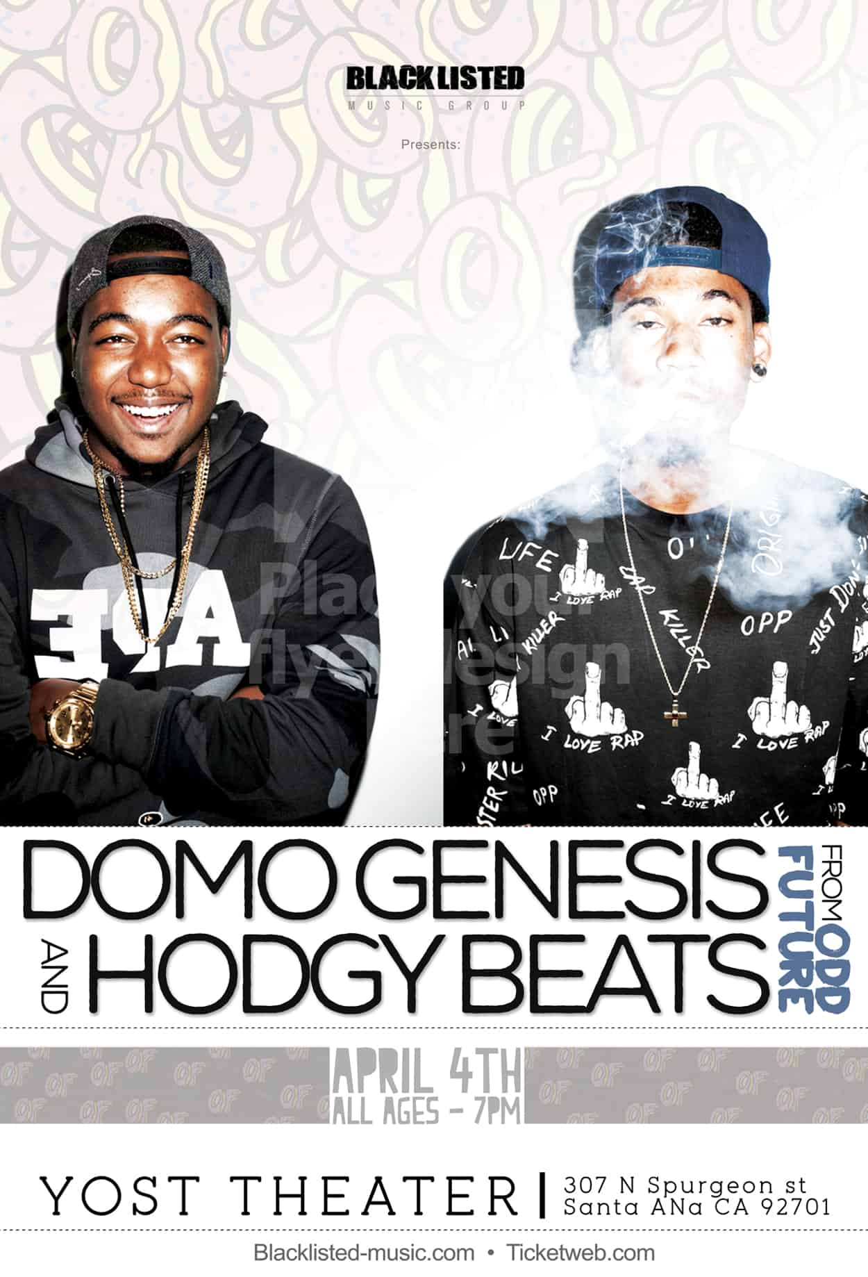 domo and hodgy - odd future - flyer design