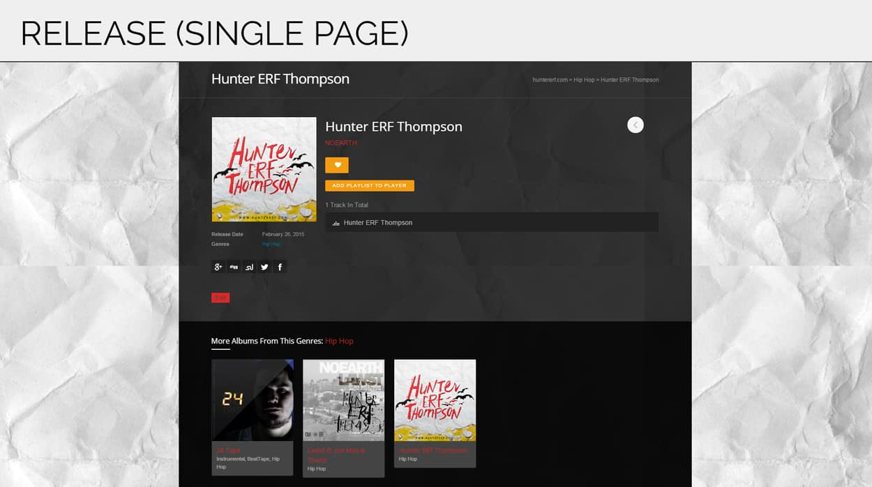 hunter erf thompson - website design - single release