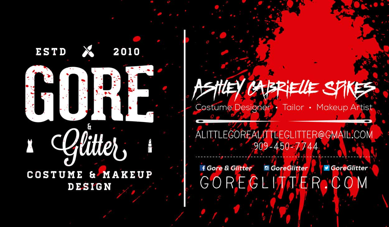 gore and glitter - business card design