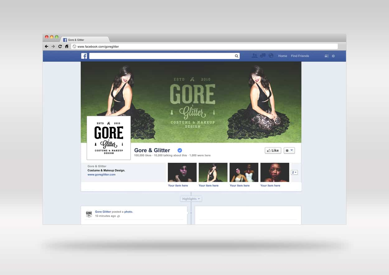 gore and glitter - facebook header design
