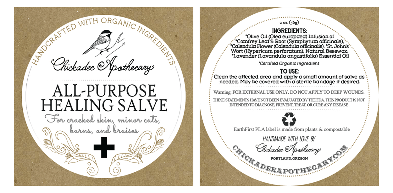 chickadee apothecary - label design - salve