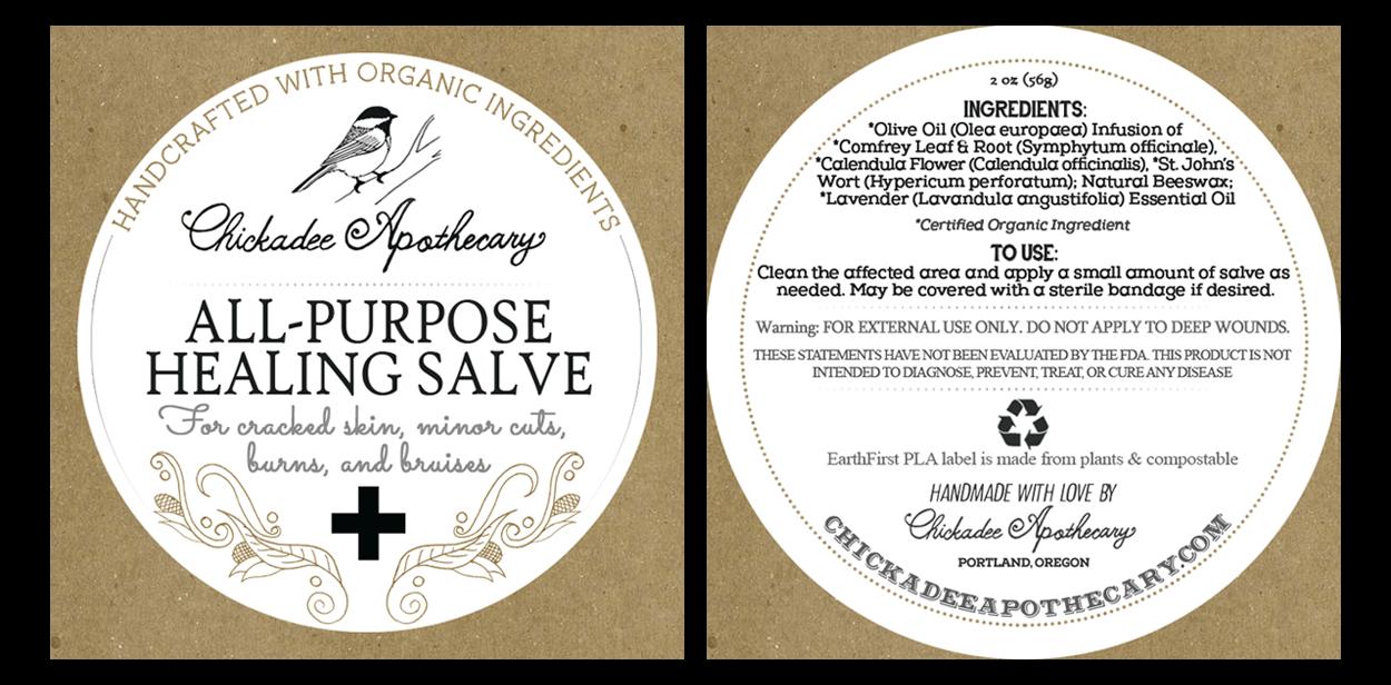 chickadee apothecary - label design - salve