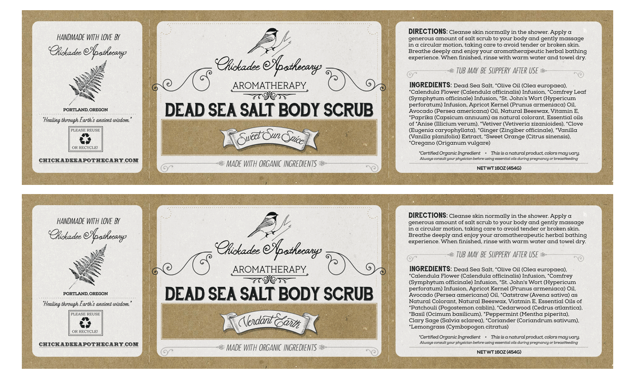chickadee apothecary - label design - scrubs