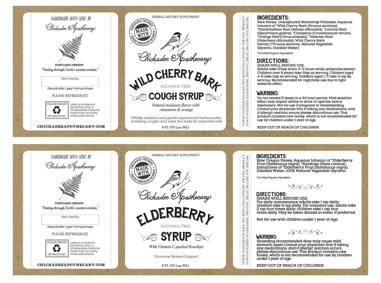 chickadee apothecary - label design - syrups