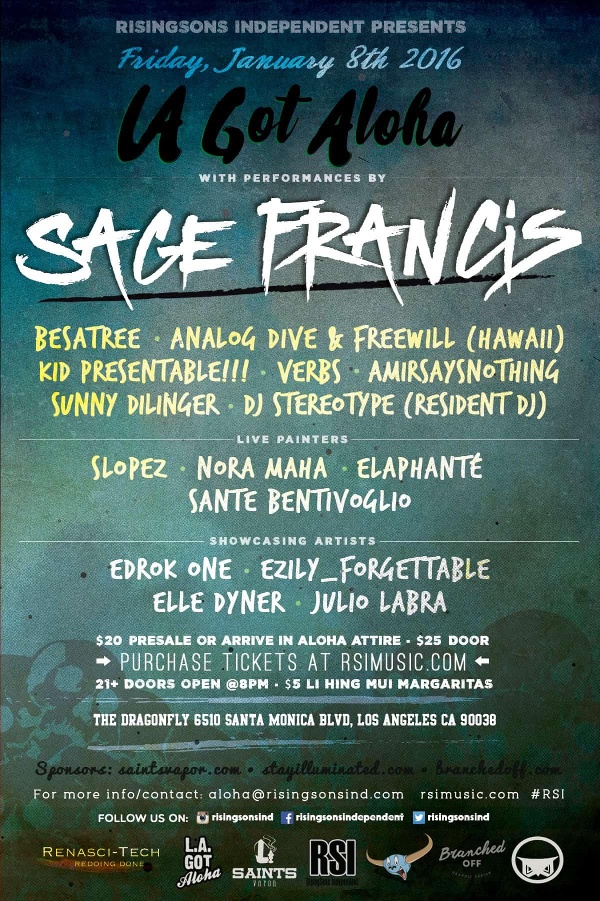 lagotaloha - sage francis - flyer design