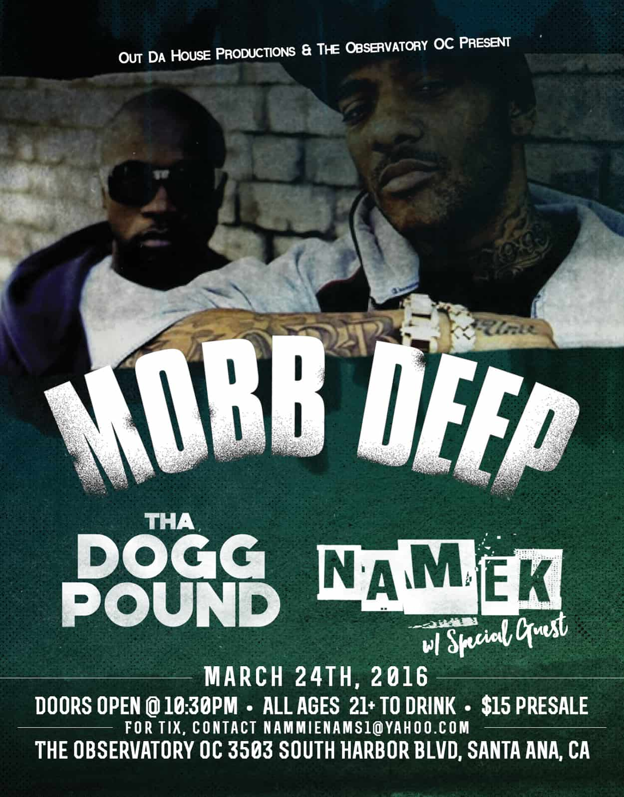 namek - mobb deep - tha dogg pound - flyer design