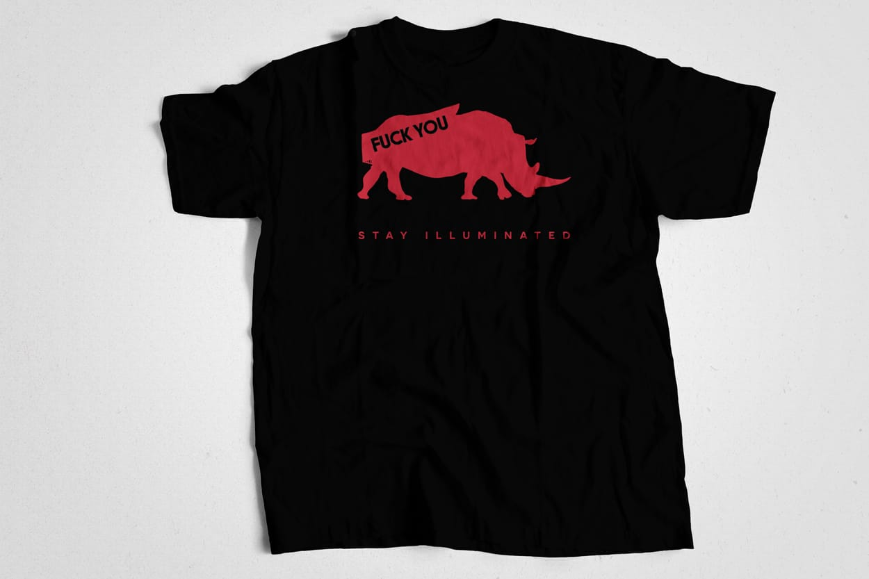 stay ill - fuck you animal series - tshirt design - rhino