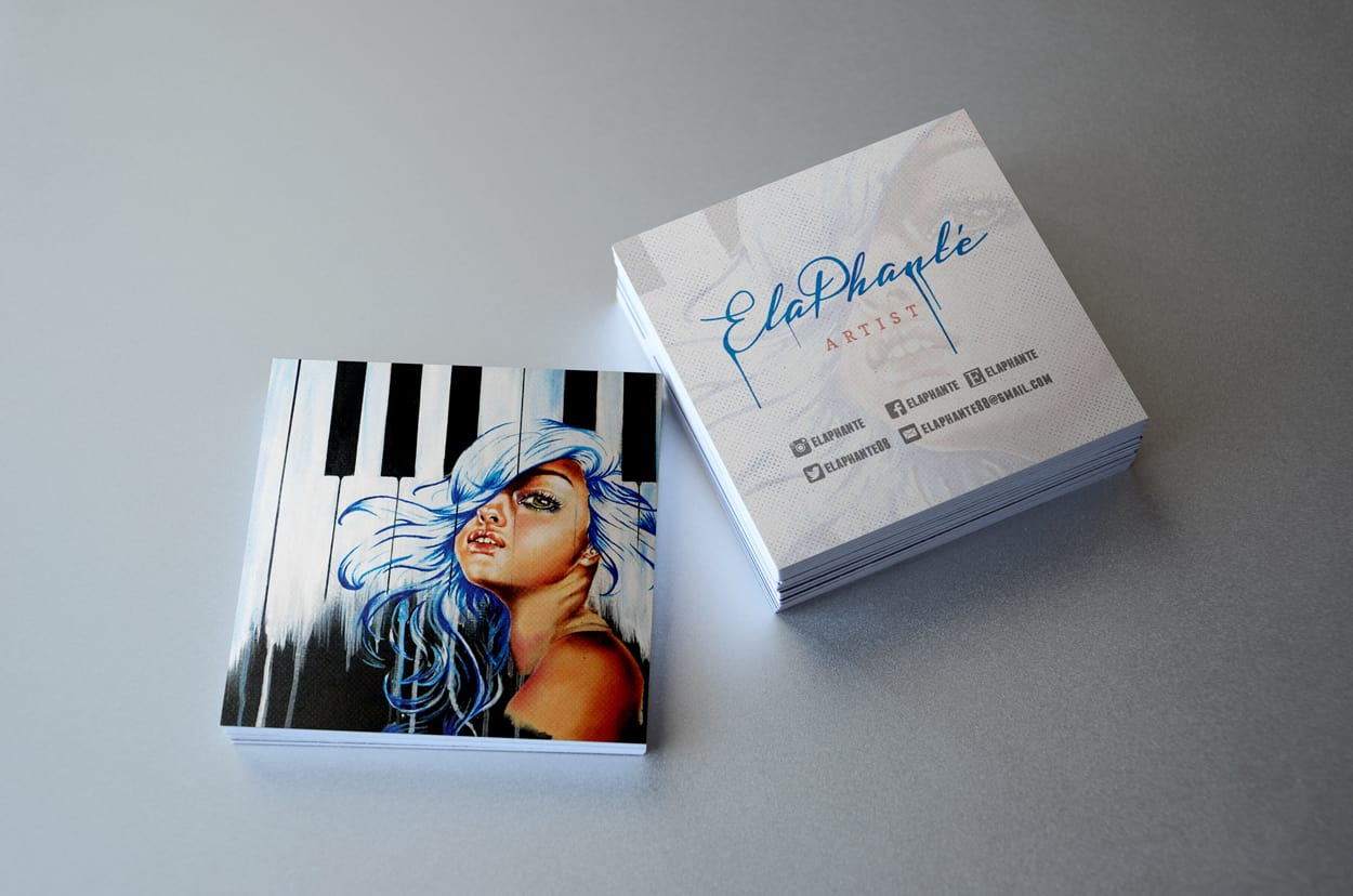 elaphanté - square business card design