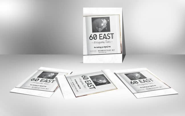 60east - european booking - flyer design