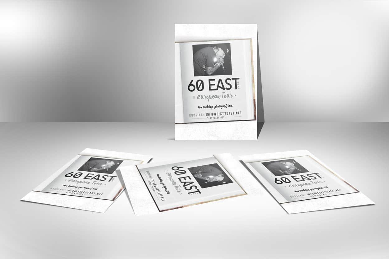 60east - european booking - flyer design