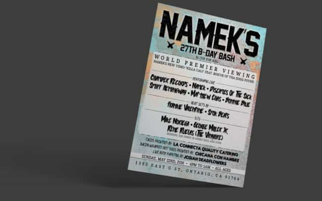 namek - bday show - flyer design