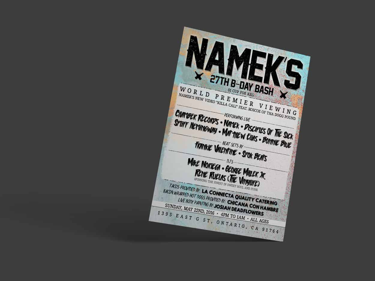 namek - bday show - flyer design