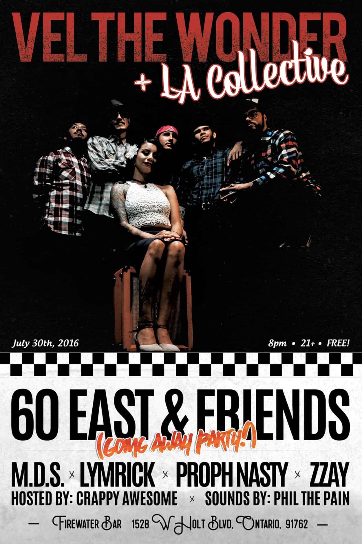 60 east - going away party - flyer design