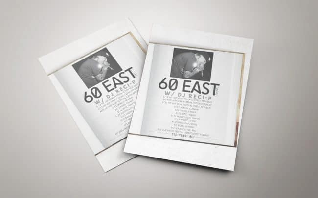 60east - european tour - flyer design