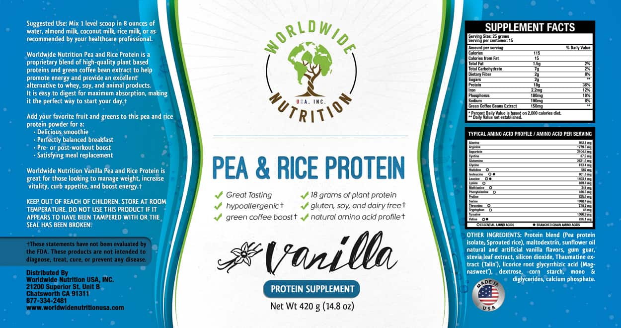 worldwide nutrition - label design