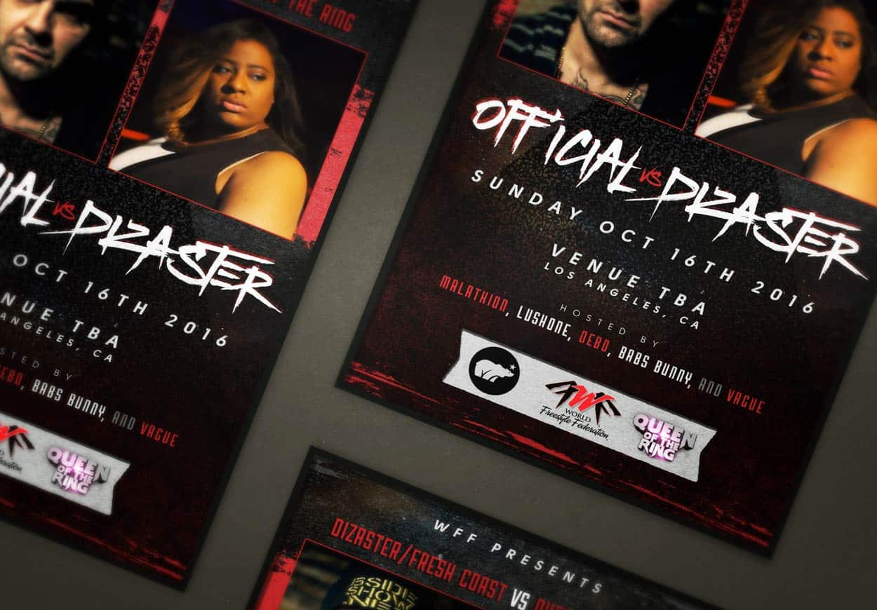 wff - dizaster vs official - flyer design