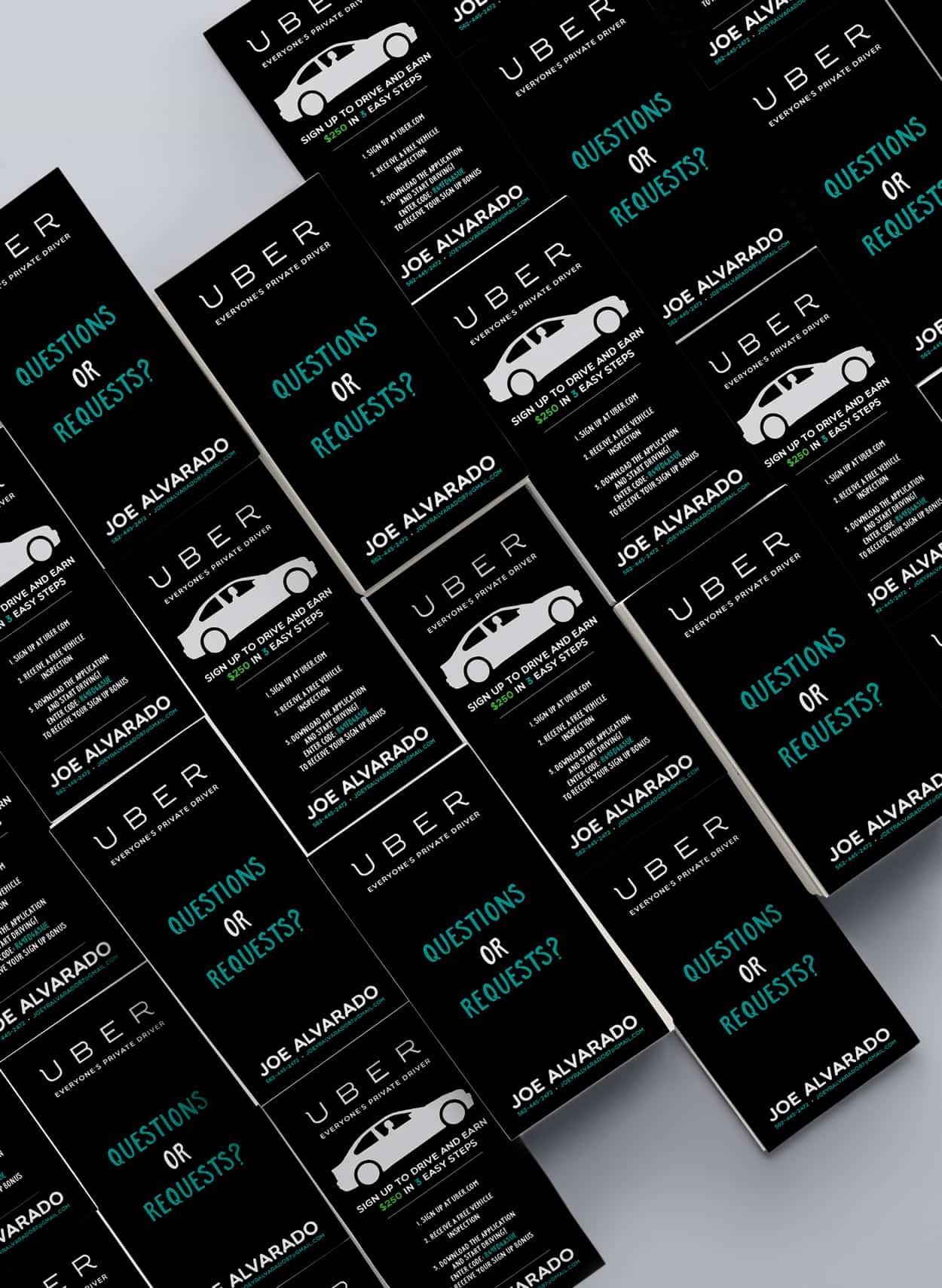joe alvarado - uber - business card design