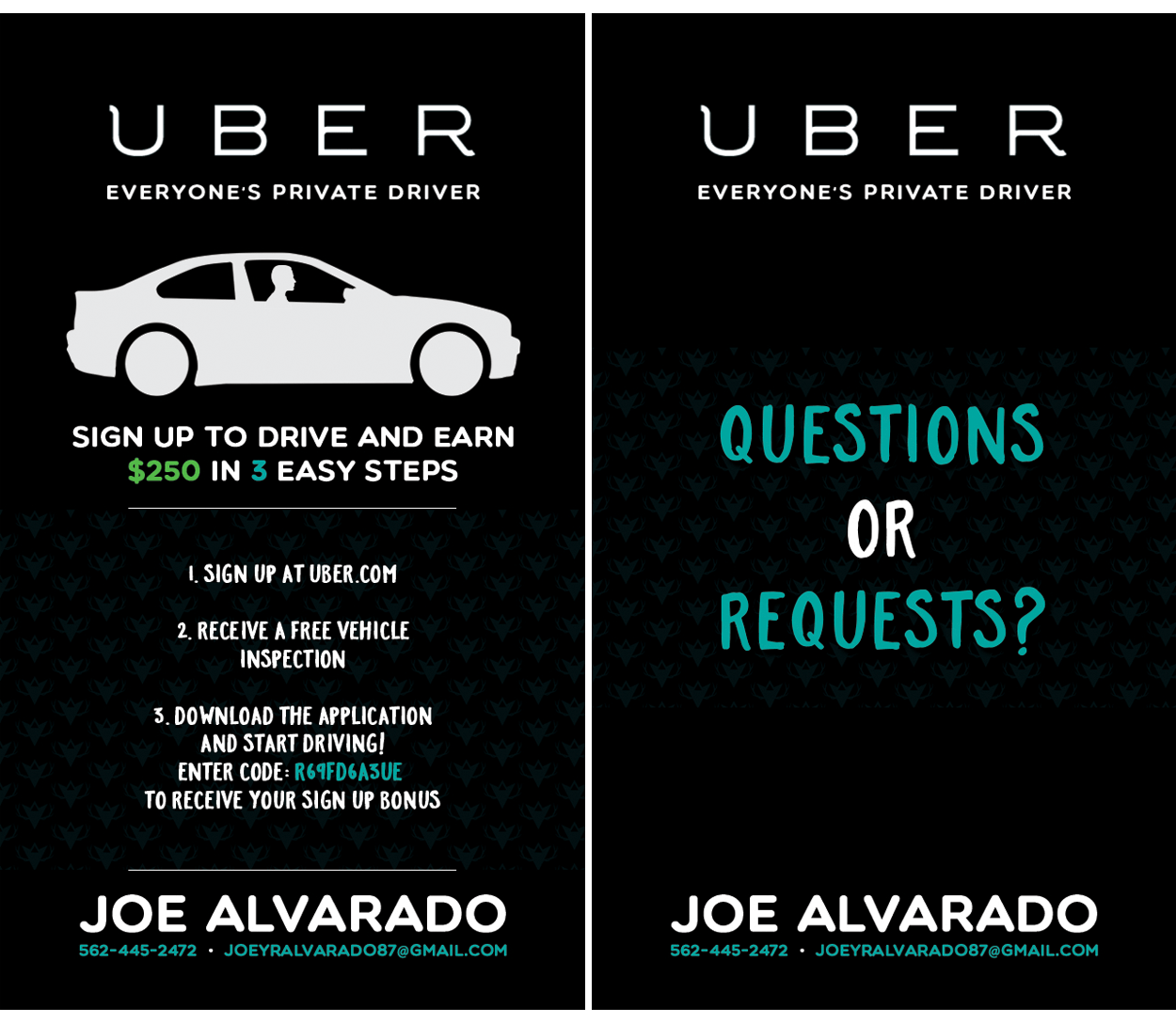 Joe alvarado uber business card design branched off joe alvarado uber business card design reheart Choice Image