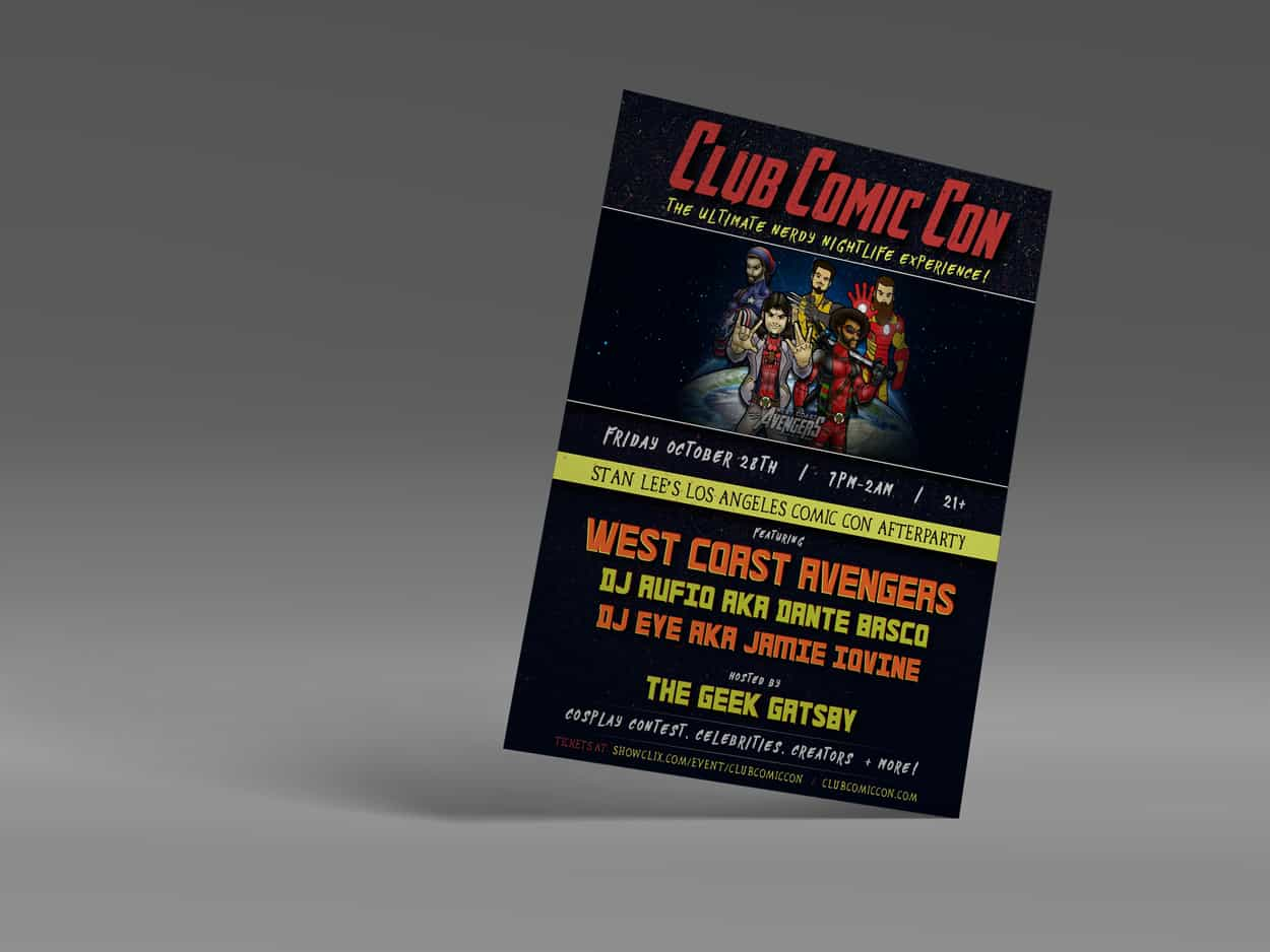 wca - club comic con - flyer design