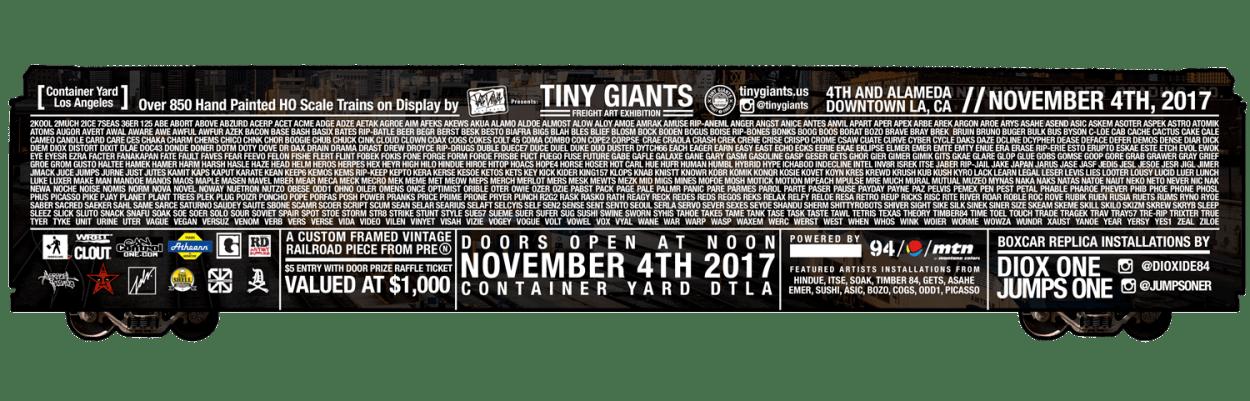 tiny giants - die cut train flyer design